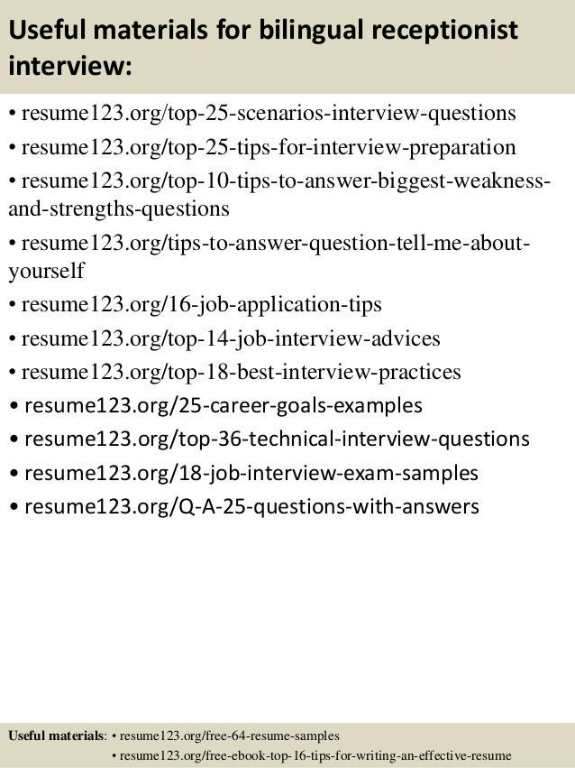 top 8 bilingual receptionist resume samples