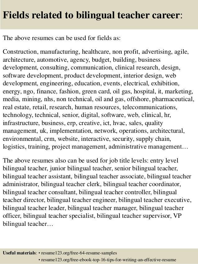 Top 8 bilingual teacher resume samples