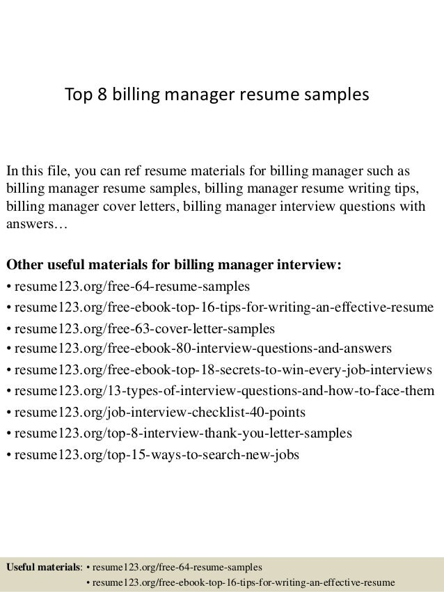 Top 8 billing manager resume samples In this file, you can ref resume  materials for ...