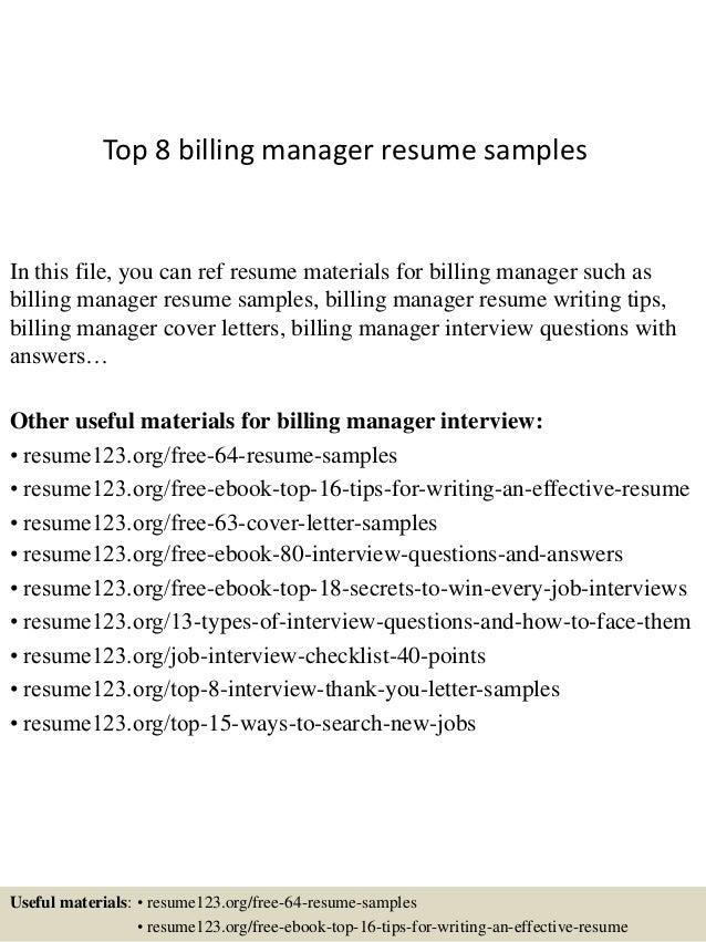 Top 8 billing manager resume samples
