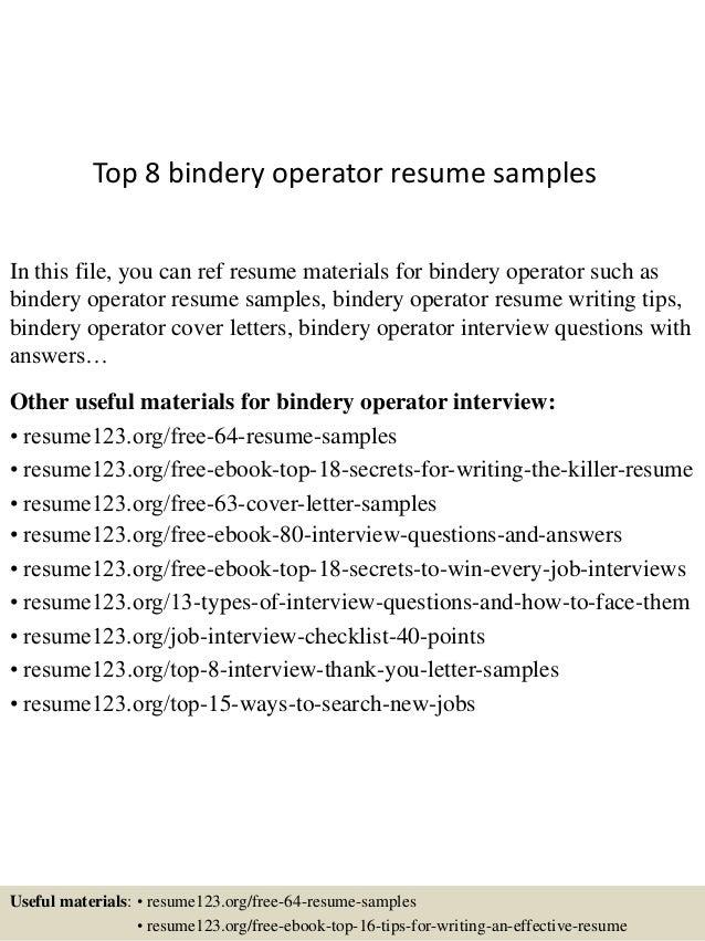 Bindery operator resume