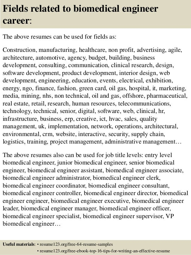 Top 8 biomedical engineer resume samples – Biomedical Engineer Resume