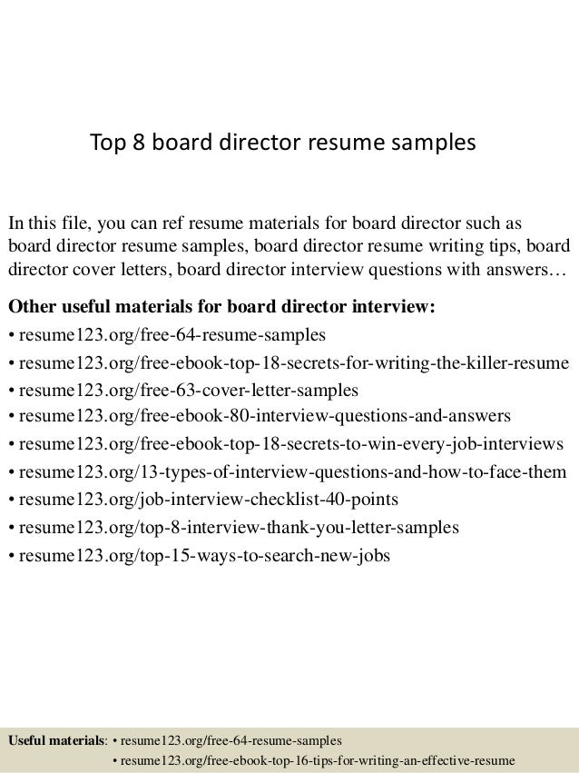 top 8 board director resume samples in this file you can ref resume materials for - Board Of Director Resume