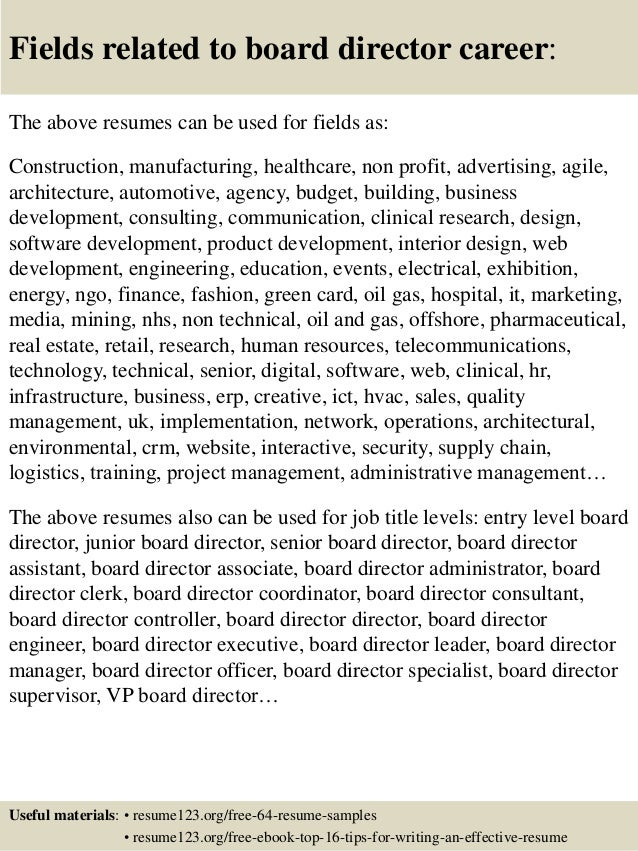 16 fields related to board director - Board Of Directors Resume