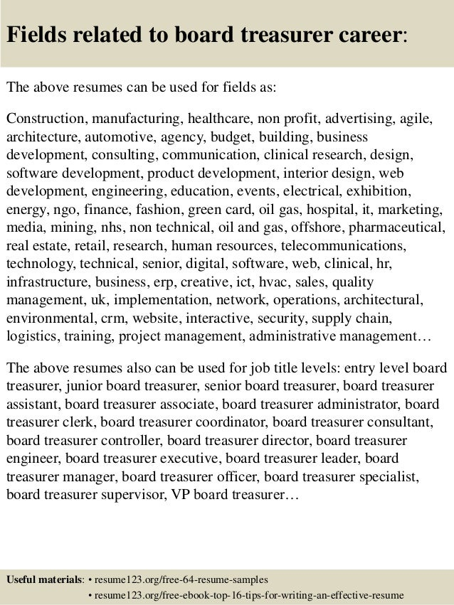 Top 8 Board Treasurer Resume Samples