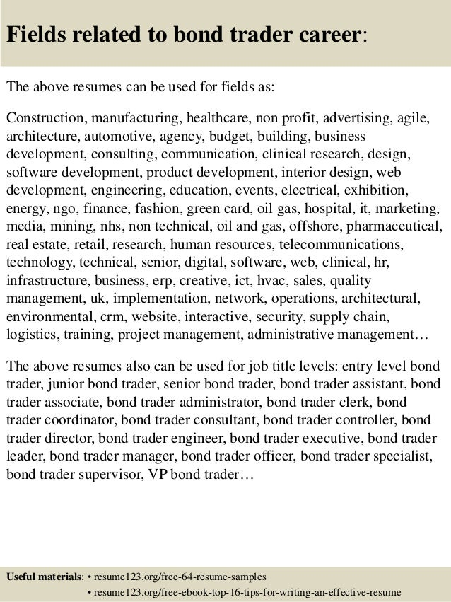 Top Bond Trader Resume Samples - Bond trader cover letter