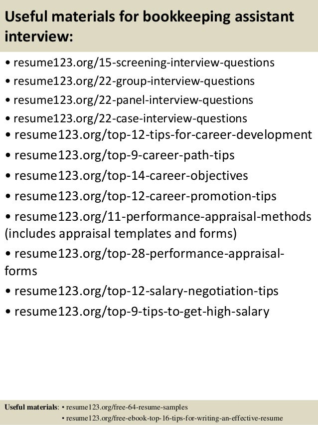 15 useful materials for bookkeeping assistant - Bookkeeper Assistant Sample Resume