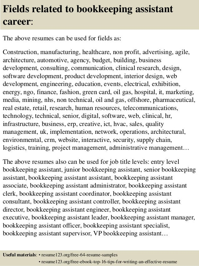 ... 16. Fields Related To Bookkeeping Assistant Career: The Above Resumes  ...