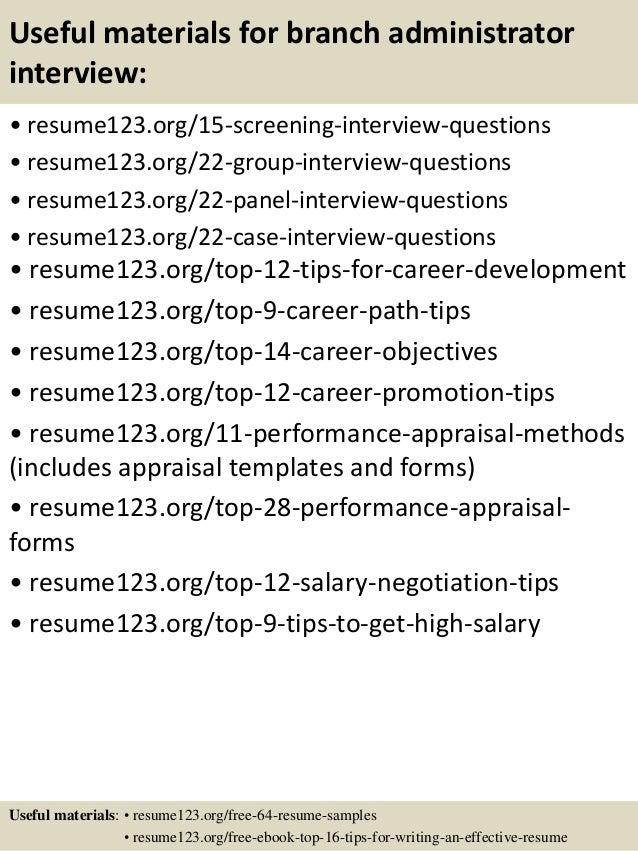 Top 8 branch administrator resume samples