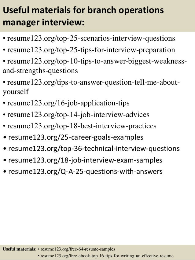 Top 8 Branch Operations Manager Resume Samples  Bank Branch Manager Resume