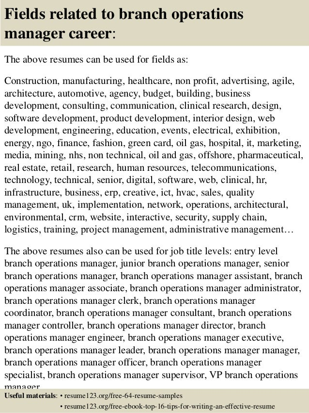 16 fields related to branch operations manager