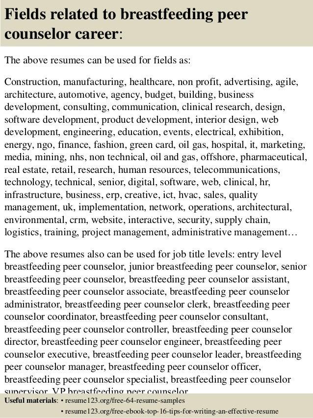 Top 8 breastfeeding peer counselor resume samples