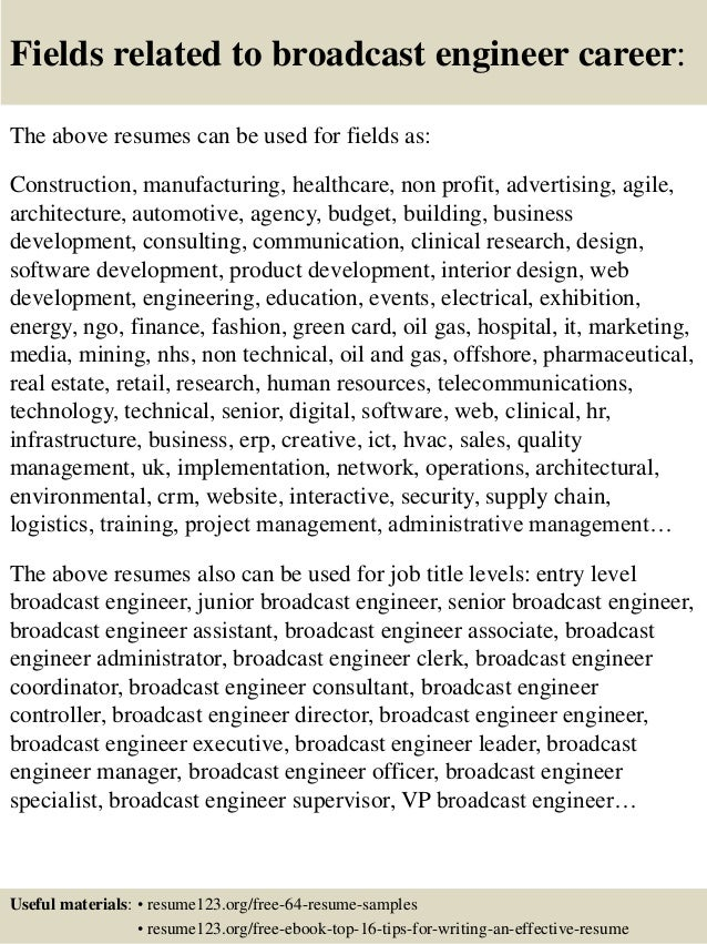 16 fields related to broadcast engineer - Broadcasting Engineer Resume
