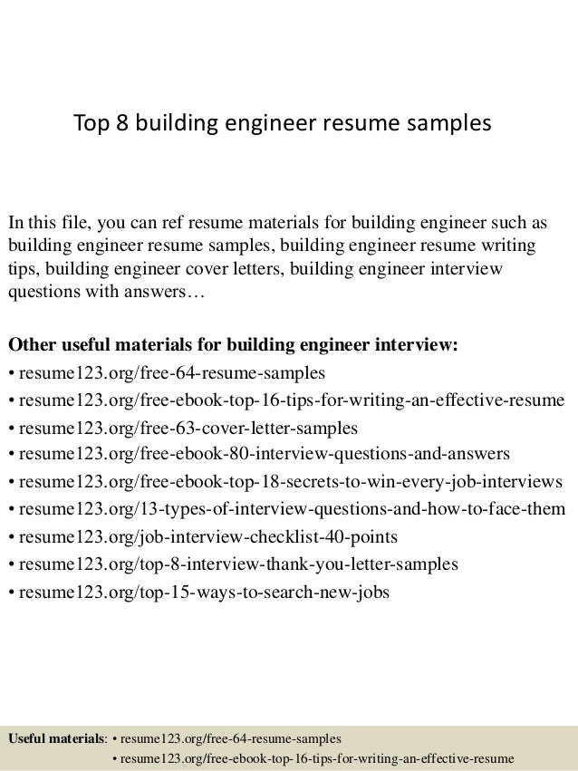 Top 8 Building Engineer Resume Samples In This File, You Can Ref Resume  Materials For ...