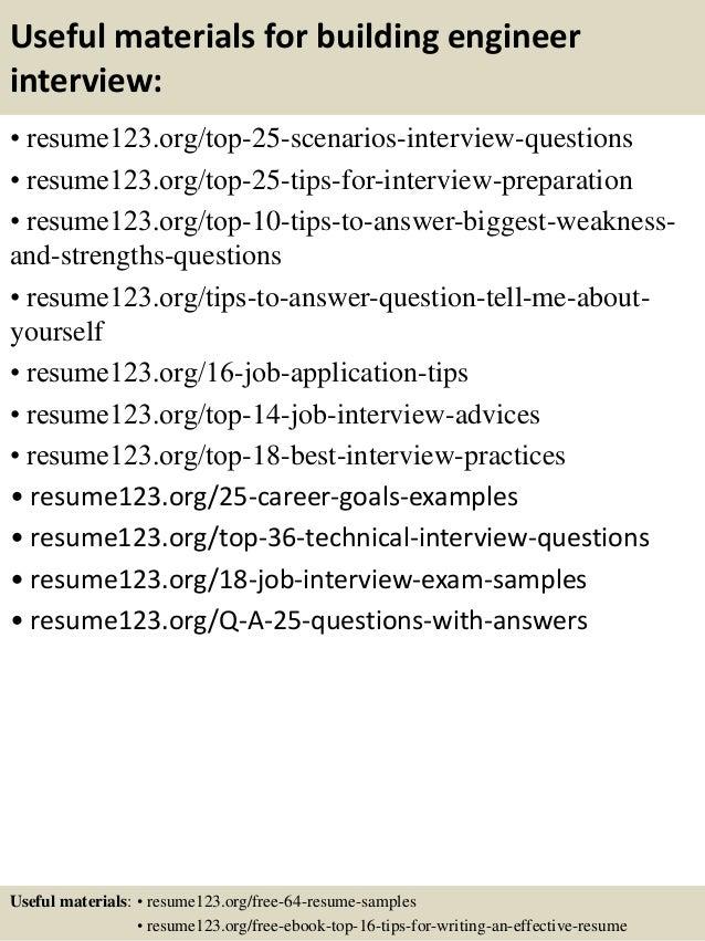 13 useful materials for building engineer - Building Engineer Sample Resume