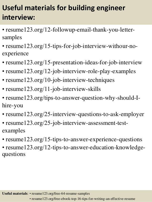 14 useful materials for building engineer - Building Engineer Sample Resume