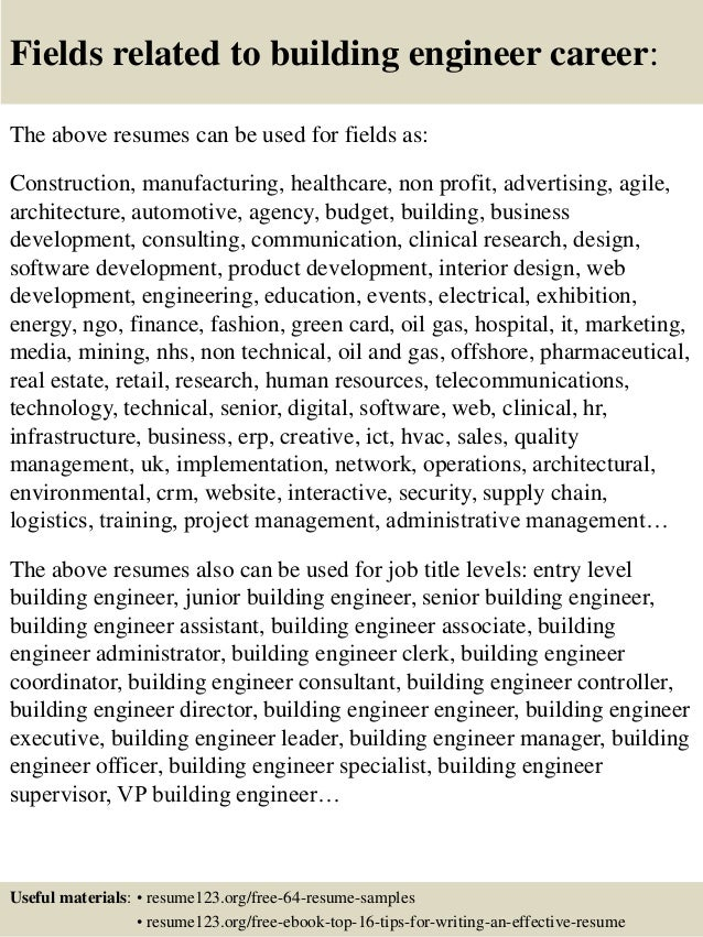 16 fields related to building engineer - Building Engineer Resume