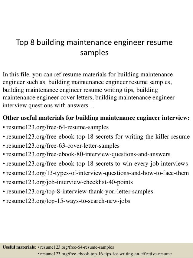 top 8 building maintenance engineer resume samples in this file you can ref resume materials - Maintenance Resume Samples