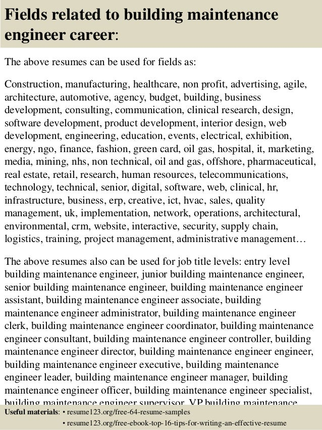 16 fields related to building maintenance engineer - Hotel Maintenance Engineer Sample Resume
