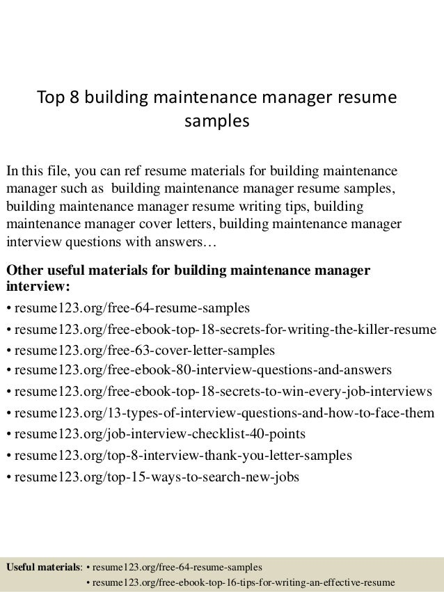 top 8 building maintenance manager resume samples in this file you can ref resume materials