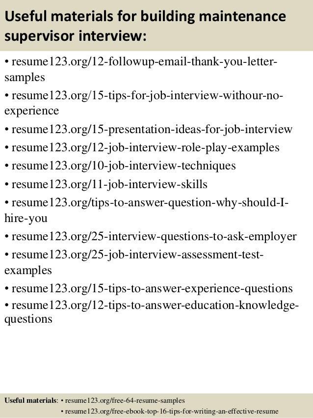 Top 8 building maintenance supervisor resume samples