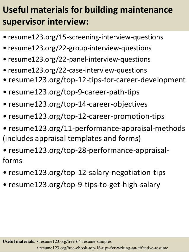 building supervisor resumes building free resume images
