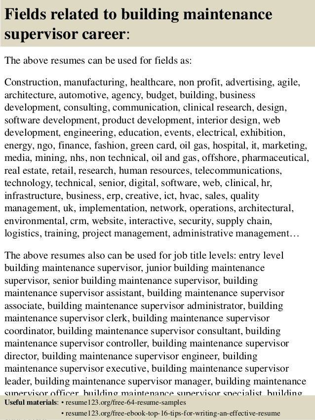 top 8 building maintenance supervisor resume samples - Building Maintenance Resume