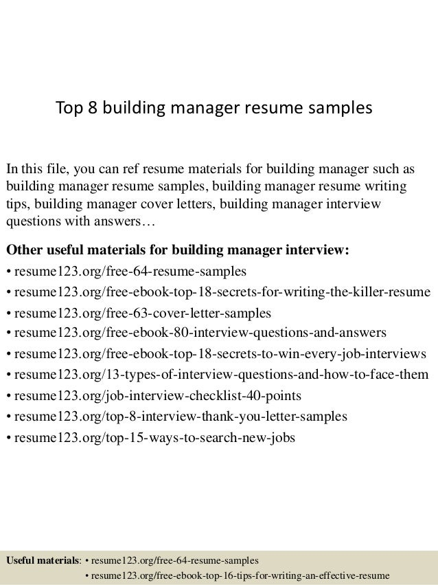 High Quality Top 8 Building Manager Resume Samples In This File, You Can Ref Resume  Materials For ... Intended Building Manager Resume