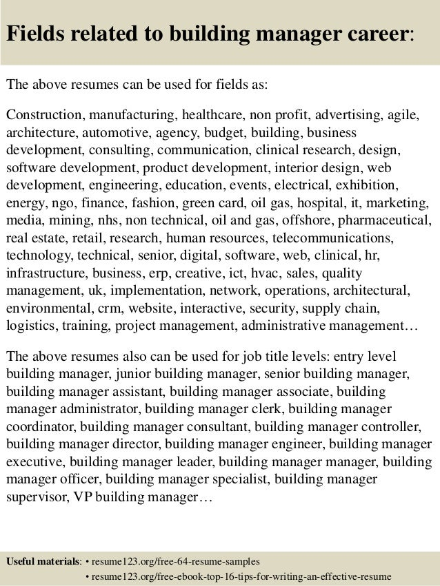 top 8 building manager resume samples
