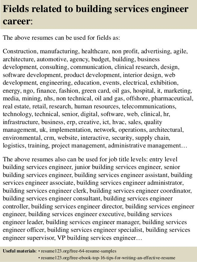 resume building services engineer