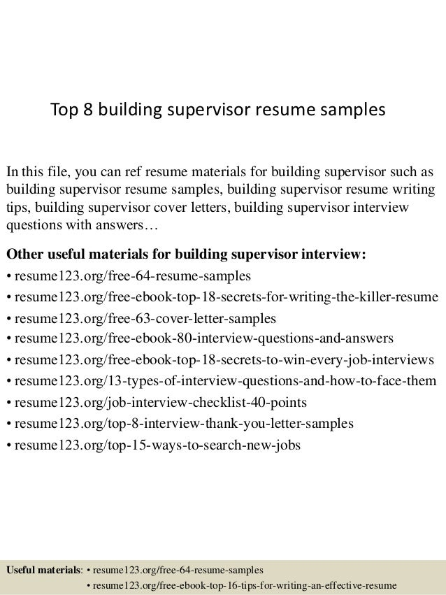 Top 8 Building Supervisor Resume Samples In This File, You Can Ref Resume  Materials For ...