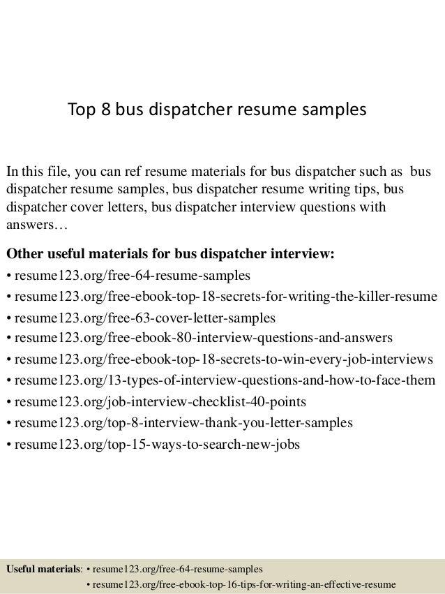 top 8 bus dispatcher resume samples