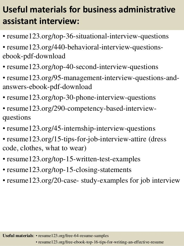 Top 8 business administrative assistant resume samples