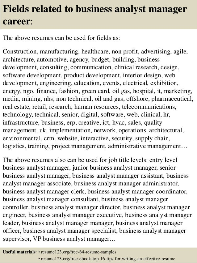 16 Fields Related To Business Analyst Manager