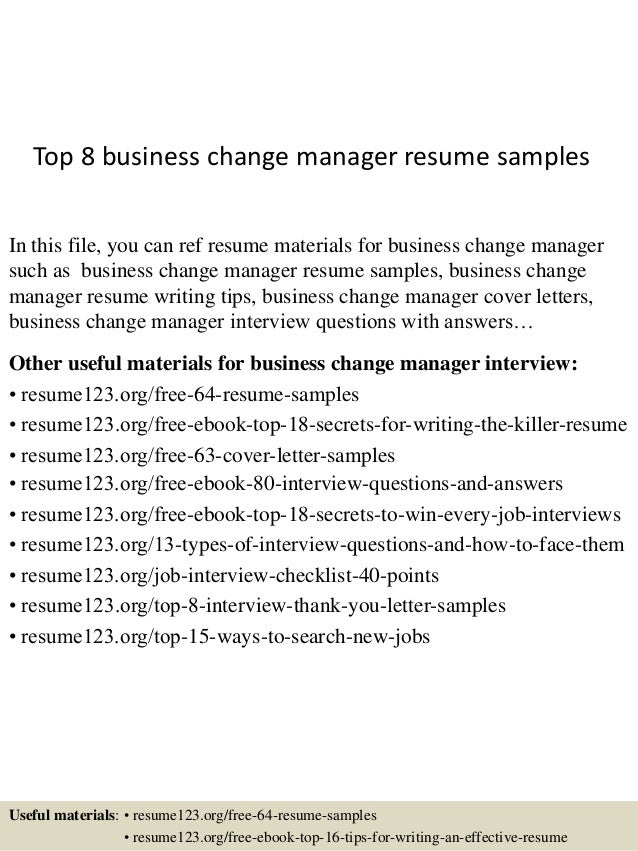 change manager resume