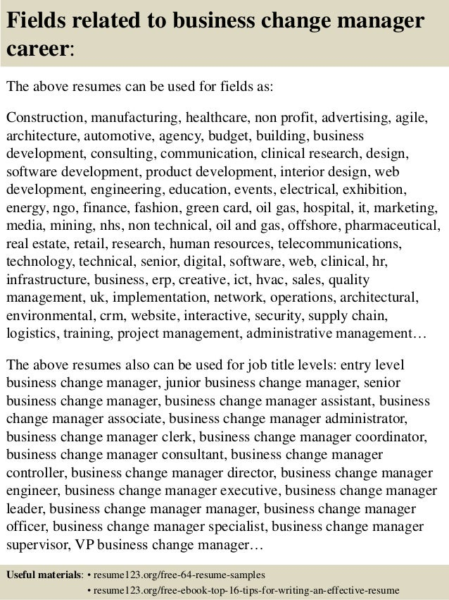 Top 8 business change manager resume samples