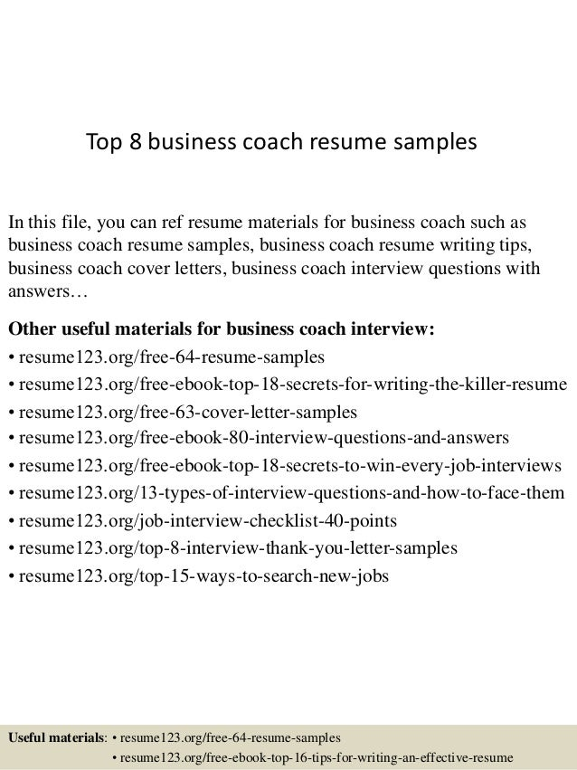 Top 8 Business Coach Resume Samples