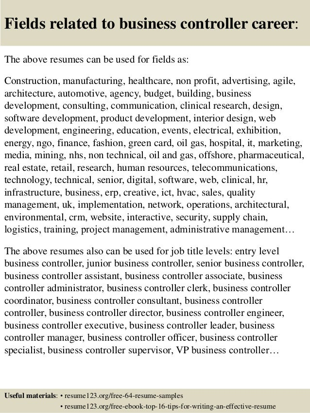 Top 8 business controller resume samples