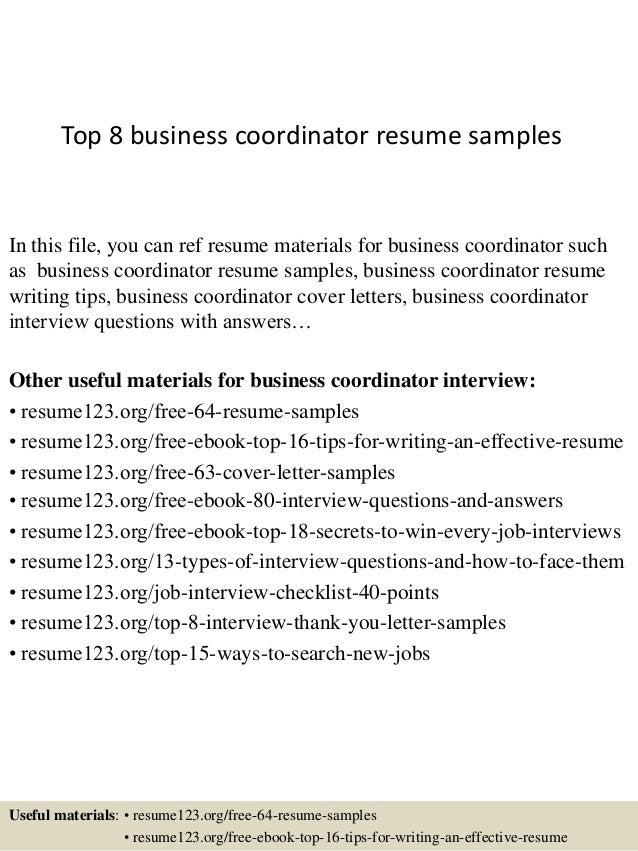 top 8 business coordinator resume samples