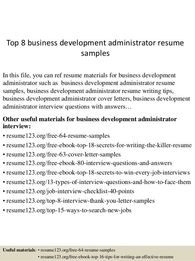Marvelous Top 8 Business Development Administrator Resume Samples In This File, You  Can Ref Resume Materials ...