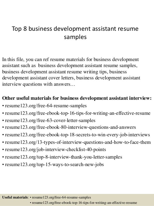top 8 business development assistant resume samples in this file you can ref resume materials - Sample Business Development Resumes