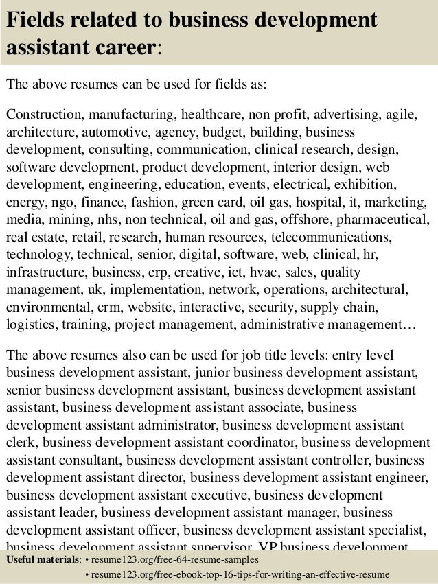 16 fields related to business development - Business Development Sample Resume