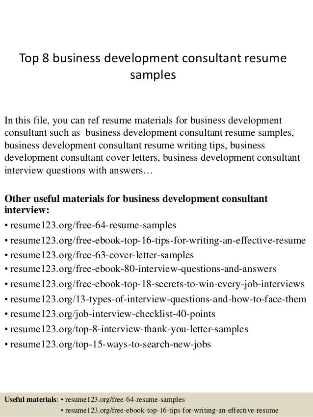 top 8 business development consultant resume samples in this file you can ref resume materials - Business Development Sample Resume