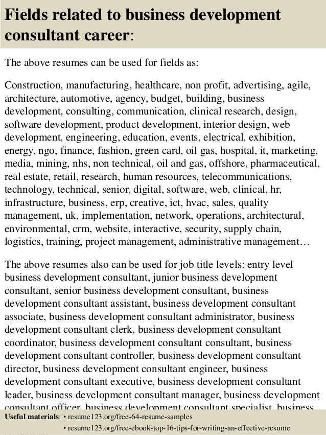 ... 16. Fields Related To Business Development ...  Business Development Resumes