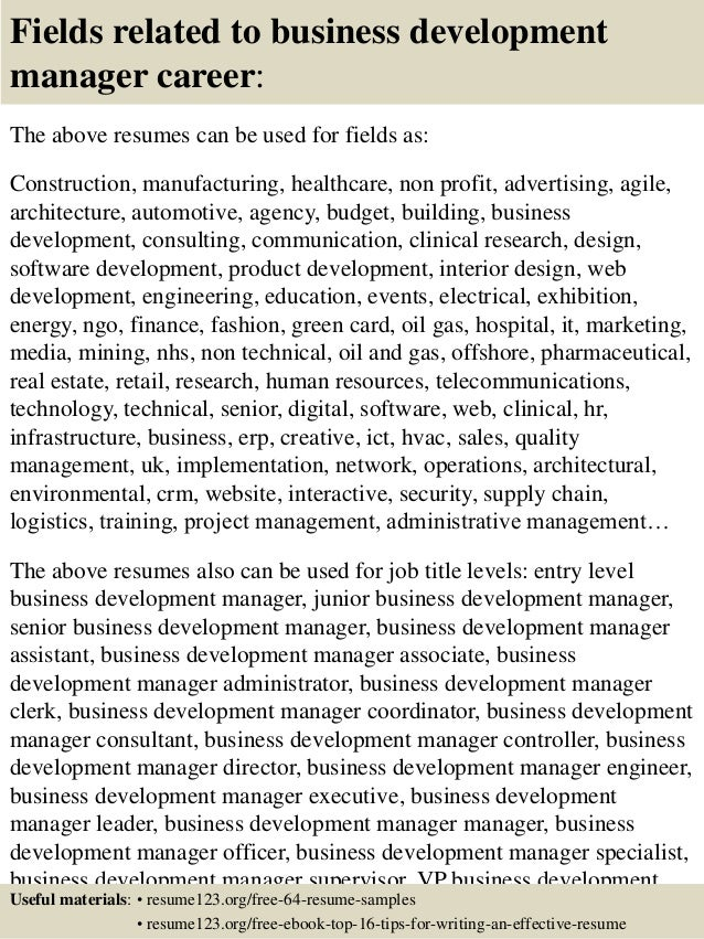 ... 16. Fields Related To Business Development ...  Business Development Resume Sample