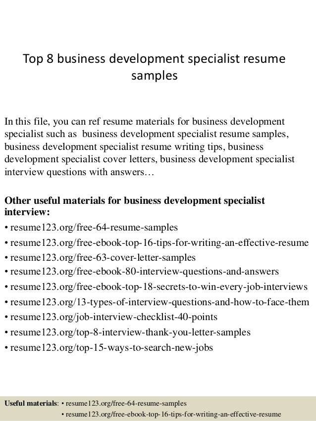 top 8 business development specialist resume samples in this file you can ref resume materials - Business Development Resume Sample