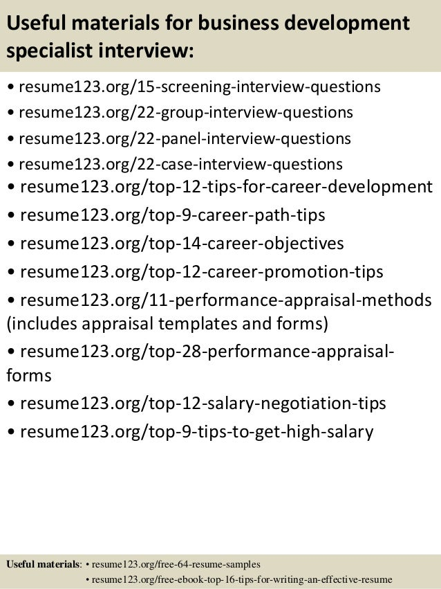 Sample Resume Business Development Specialist - frizzigame
