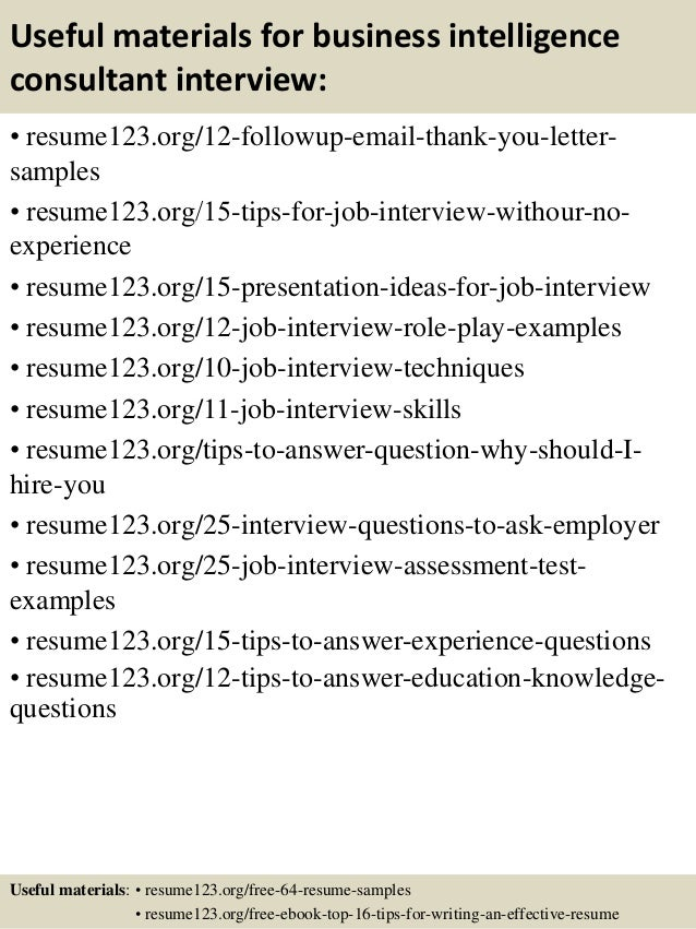 14 useful materials for business intelligence consultant. Resume Example. Resume CV Cover Letter