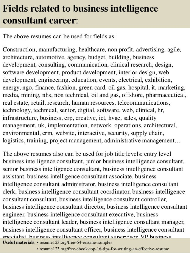 16 fields related to business intelligence consultant career the above resumes