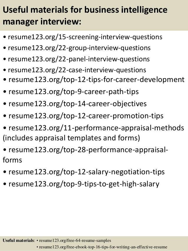 Top 8 business intelligence manager resume samples
